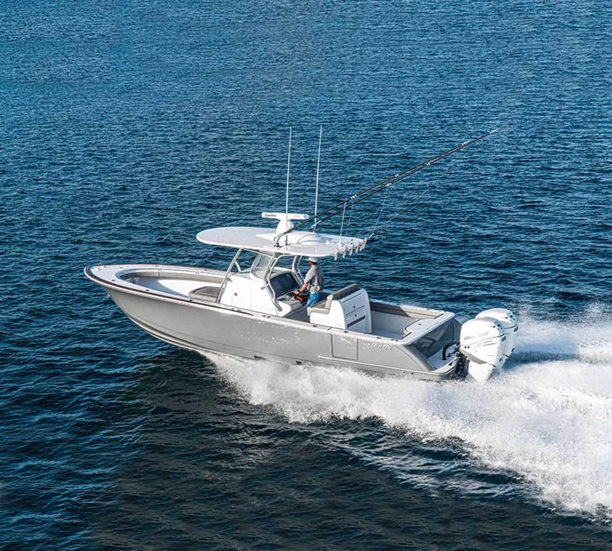 "The Valhalla V-33. LOA: 32'10"" Beam: 9'9"" Draft (engines up): 2'1"" Fuel: 327 gals. Power: (2) 400-hp Mercury Verados Price: $315,000"