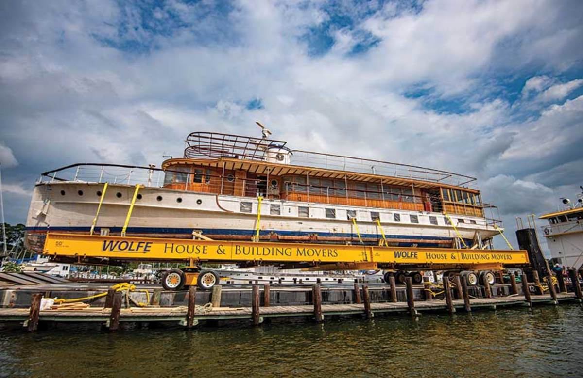 The former presidential yacht Sequoia is readied for transport to French & Webb for a three-year refit.