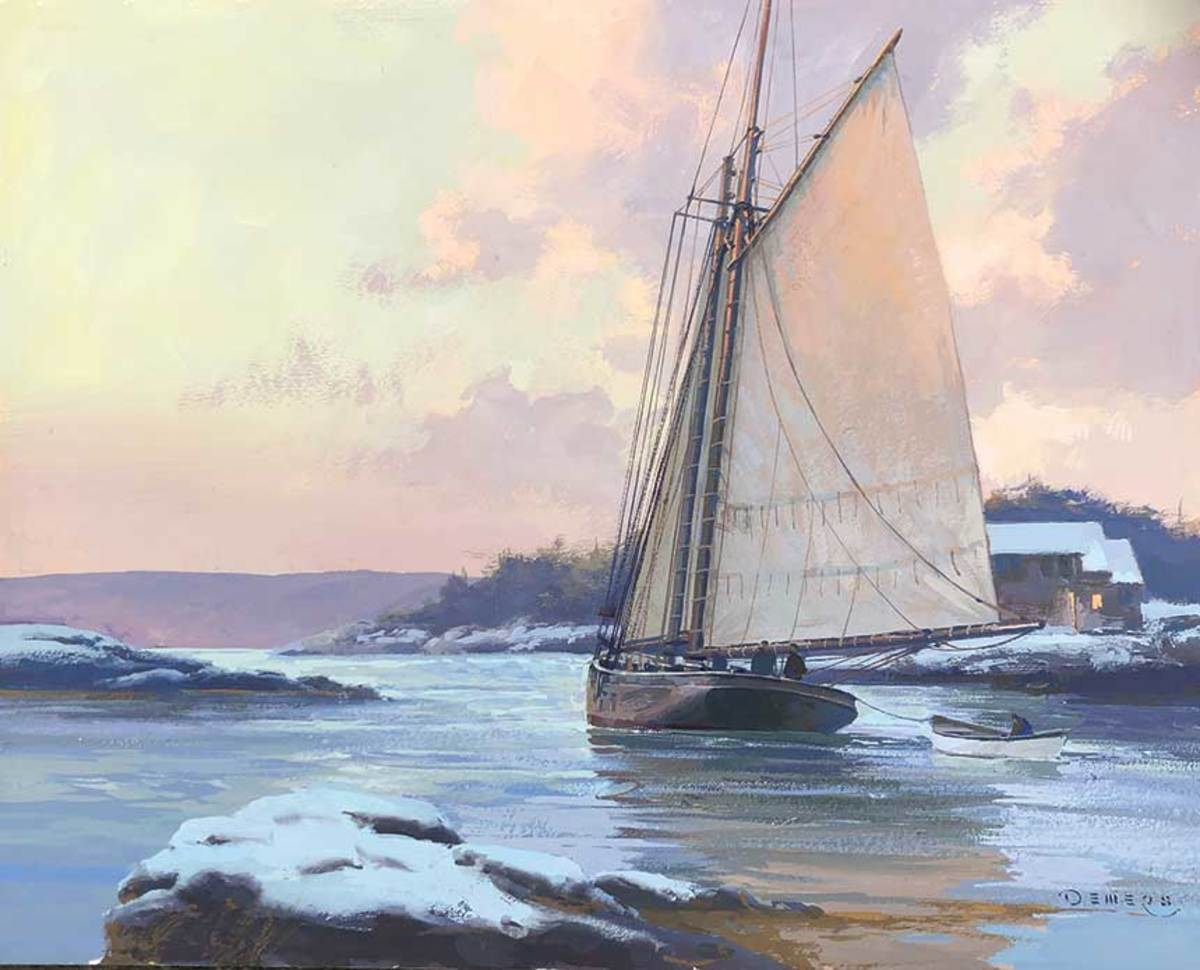 Don Demers' painting at right is one of many works by leading marine artists at the J. Russell Jinishian Gallery, which recently moved to a new location in Stonington, Connecticut.