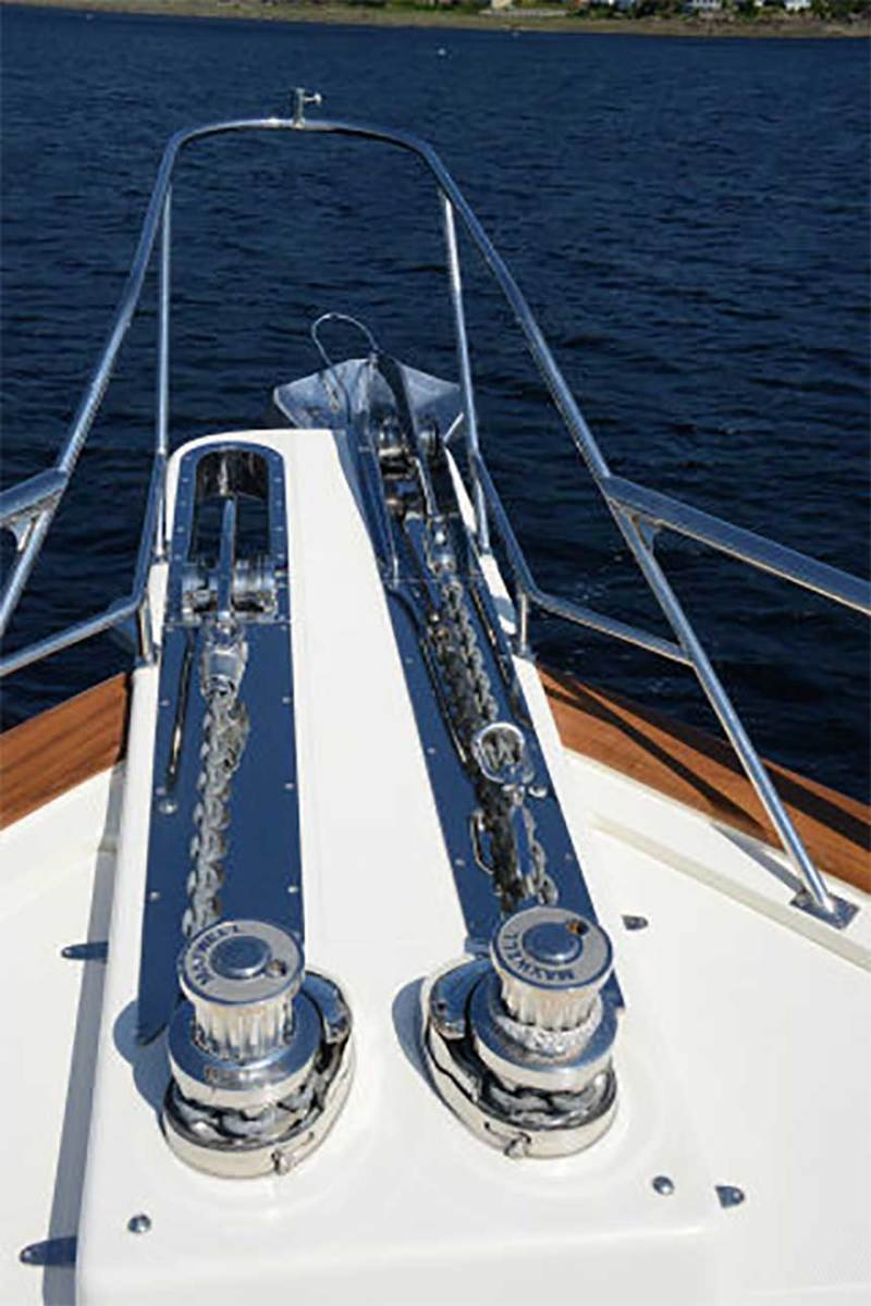 This Fleming has redundancy in a two-anchor system: the port side anchor is a Rocna with a Mantus swivel while the starboard side anchor is an Ultra with an Ultra swivel.