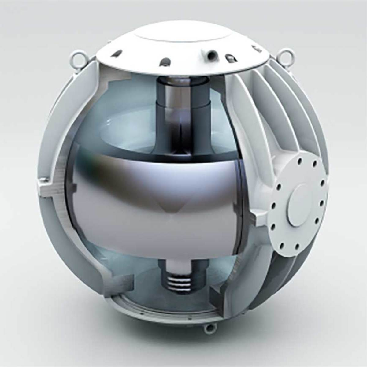 Three-dimensional rendering of the gyro mechanism inside a Seakeeper stabilizer.