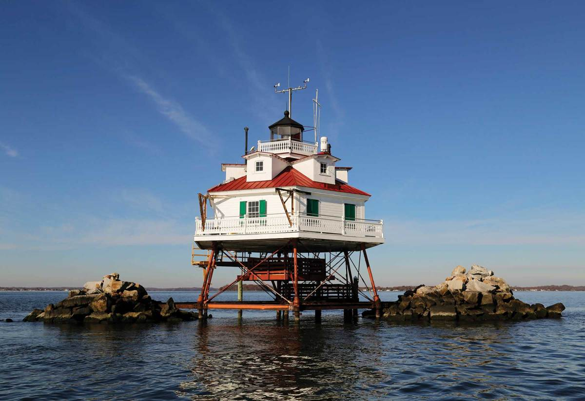Thomas Point Shoal Lighthouse, commissioned in 1875, is one of the most recognizable structures on Chesapeake Bay.