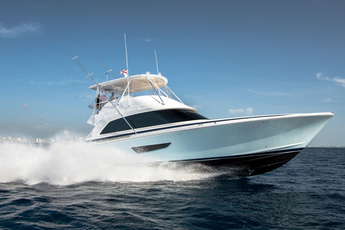 "LOA: 61'1""  | Beam: 18'3"" | Draft: 4'10"" | Displ.: 88,000 lbs. | Fuel: 1,720 gals. | Water: 280 gals. | Power: (2) 1,925-hp | Cat C32A diesels | Price: $3.49 million"