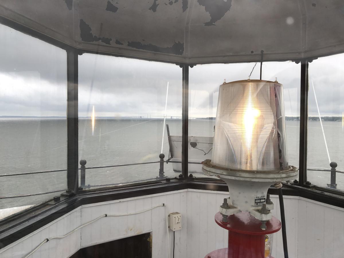 A 12-volt light illuminates the way for boats.