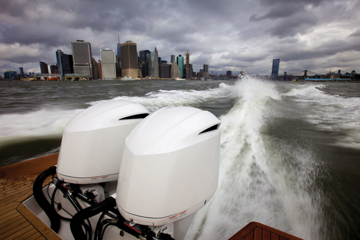 Navigating Manhattan with twin  300-hp Yamahas is a breeze.