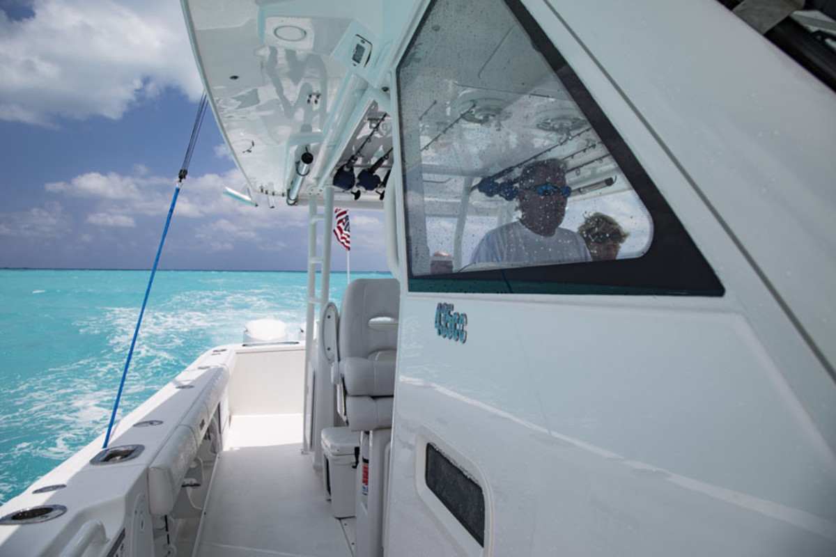Kenny McLeskey pilots Blue Moon through Whale Cay Channel.
