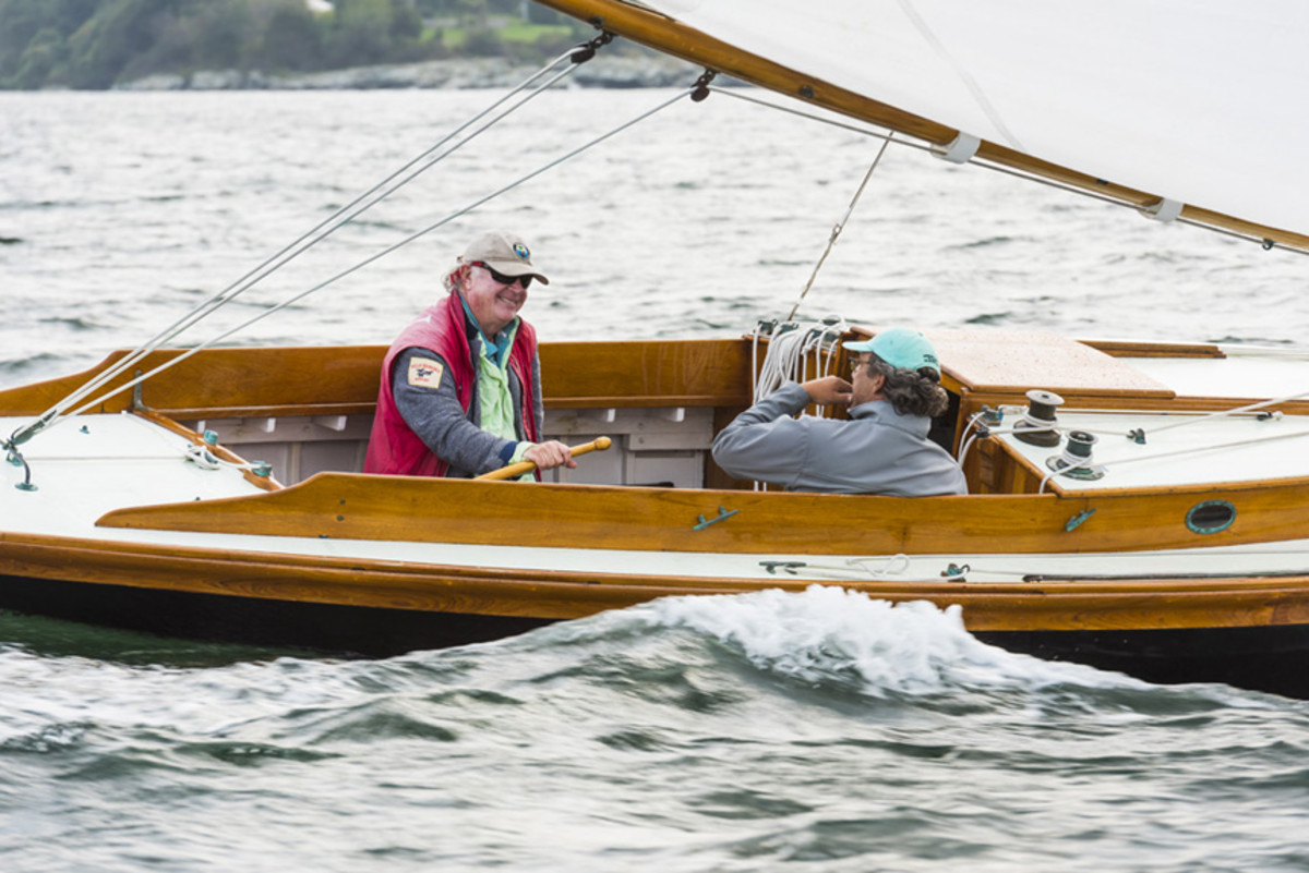 Tofias at the helm of his own  Herreshoff S-Boat Stallion.