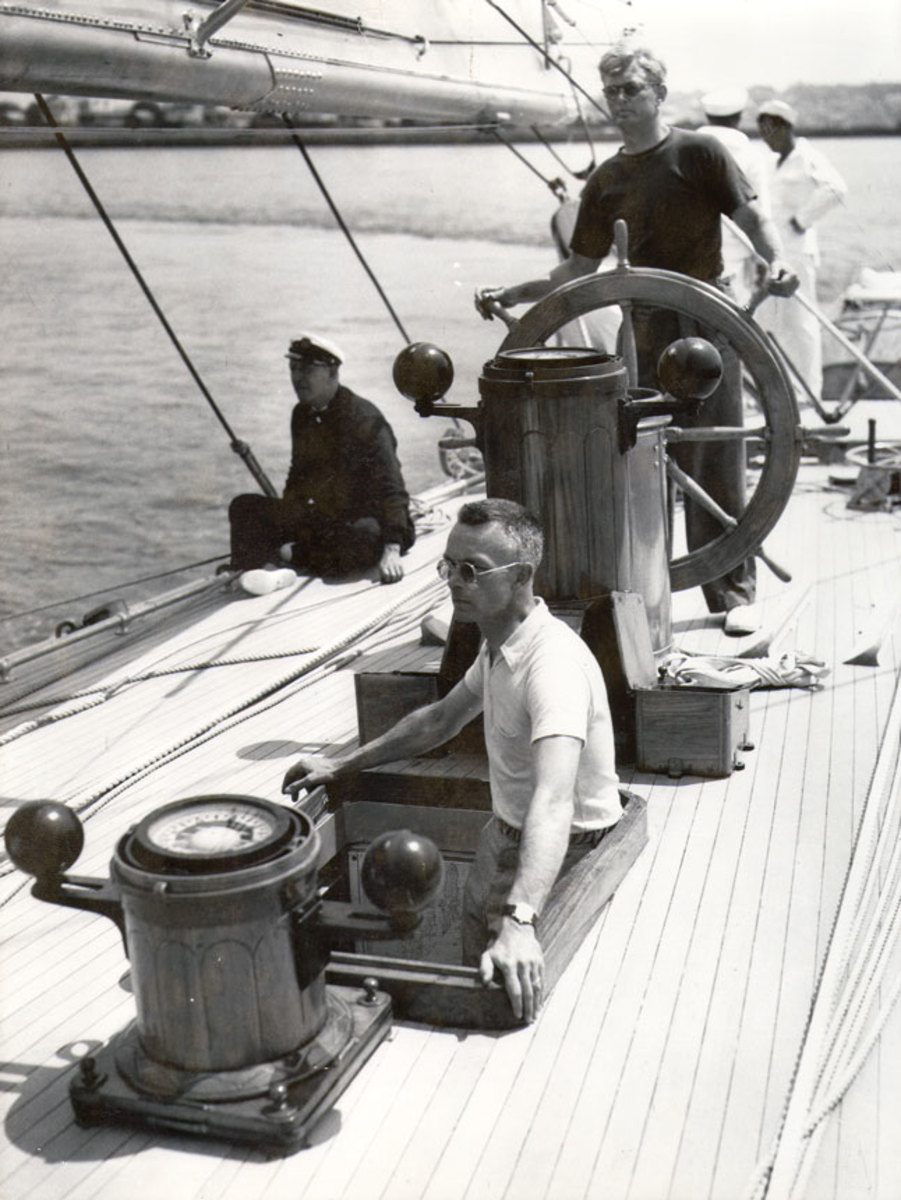 Olin Stephens (at the helm) founded S&S in 1929.