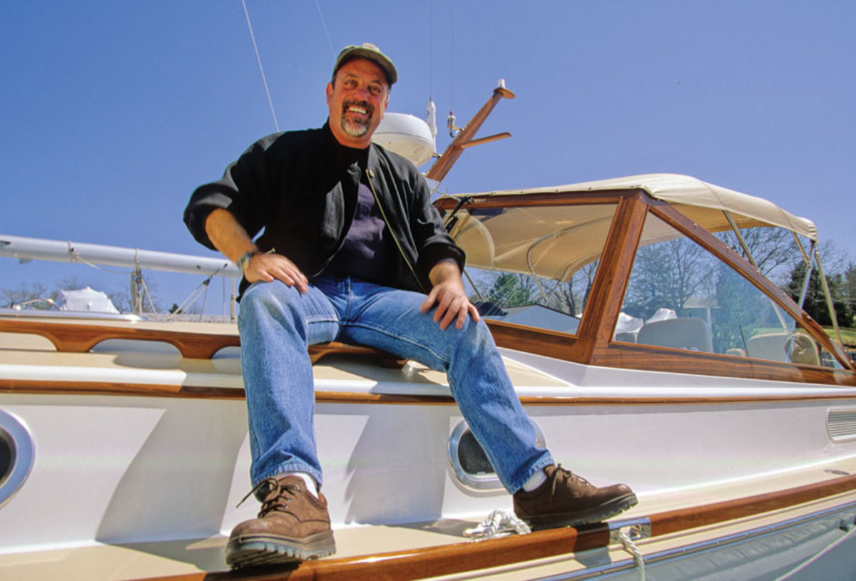Joel on his  Shelter Island Runabout.