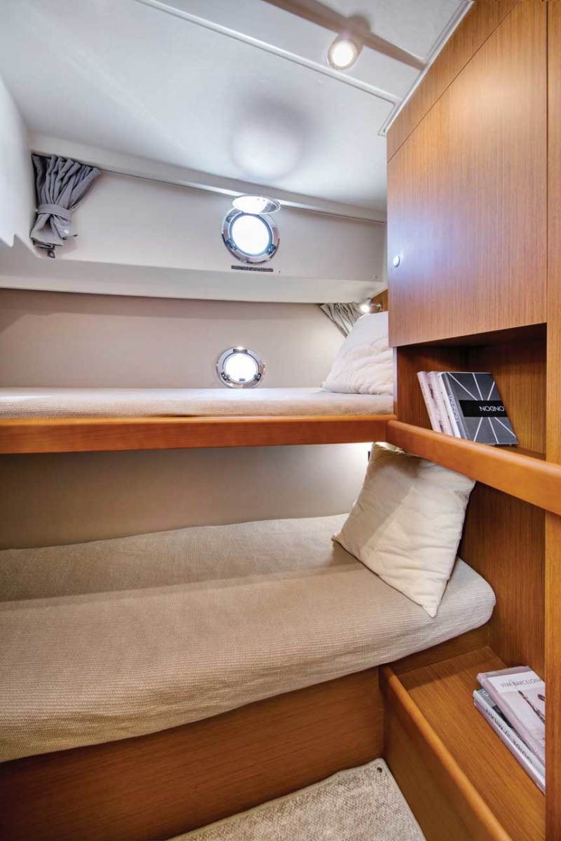 A double-bunk stateroom for guests.