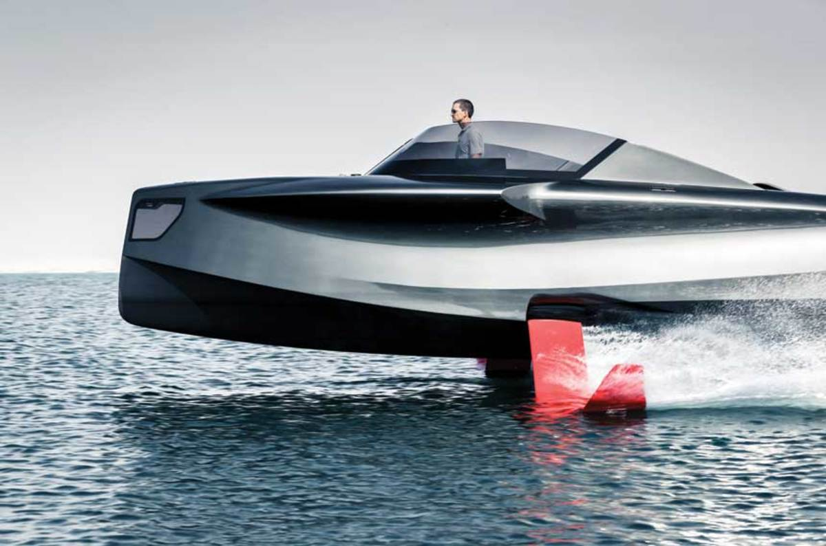 The 32-foot Foiler is equipped with  300-hp diesels and four hydrofoils.