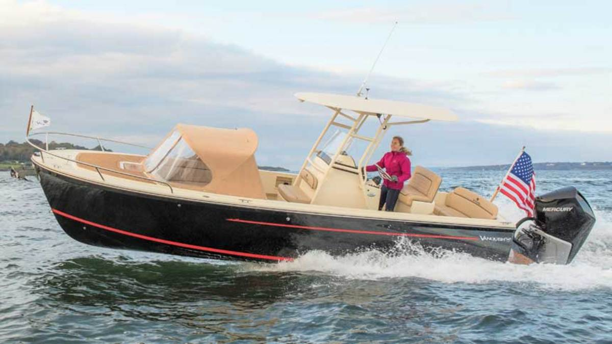 "LOA : 26'8"" / Beam: 8'0"" / Draft (engines up): 1'7"" / Displ.: 4,200 lbs. / Fuel: 75 gals. / Water: 14 gals. / Tested Power: (1) 250-hp Mercury / Verado outboard / Price (w/ listed power): $189,800"