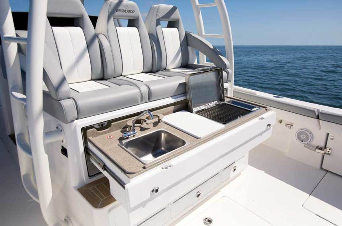 The redesigned 41 has improved seats forward, a sleeker hardtop and a slide-out grilling station.