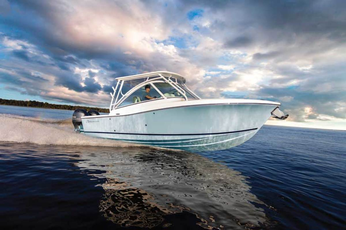 "LOA: 30'0"" / Beam: 8'8"" / Draft: 1'8"" / Weight: 8,000 lbs. / Fuel: 190 gals. / Water : 23 gals. / Power: (2) 200-hp Yamahas / Price (w/power): $168,900"