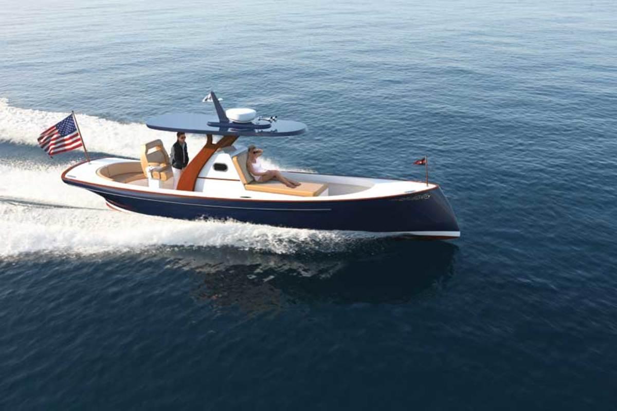 "LOA : 30'0""/ Beam: 8'7"" / Draft: 2'11"" / Displ.: 6,500 lbs. / Fuel: 90 gals. / Water: 10 gals. / Power: (1) 550-hp / Cummins QSB6.7 diesel / Price: $430,000"