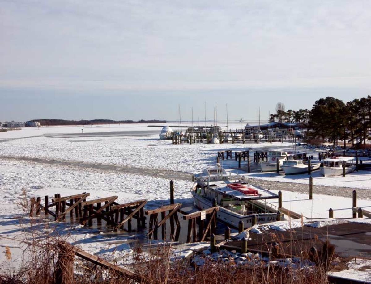 Ice and snow choke Kent Narrows on Maryland's Eastern Shore.