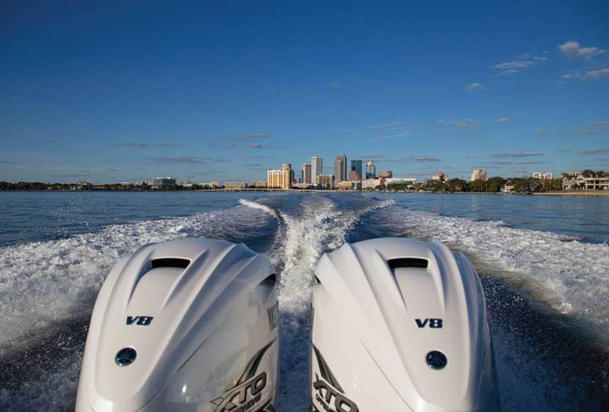 The Tampa skyline fades quickly behind twin 425-hp Yamahas.