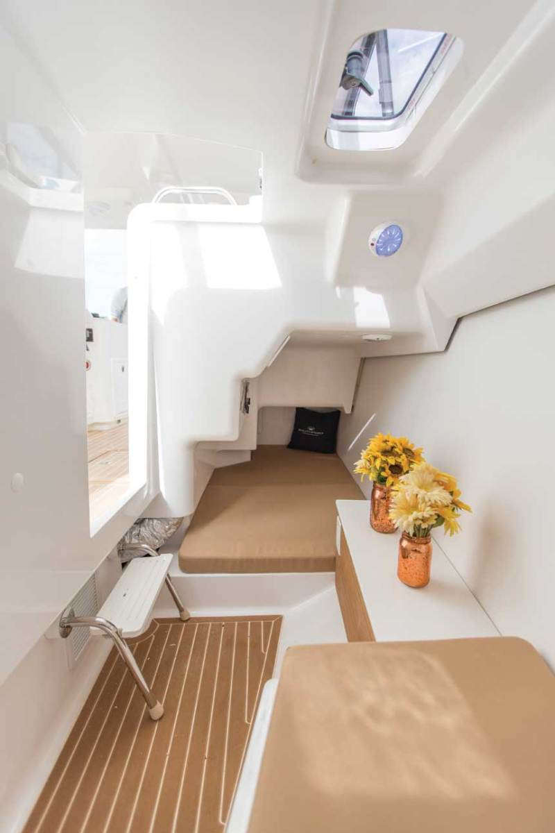 The port console cabin has twin berths.