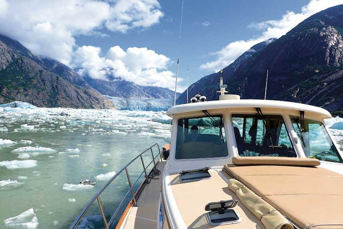 True East navigates through glacial ice in Alaska.