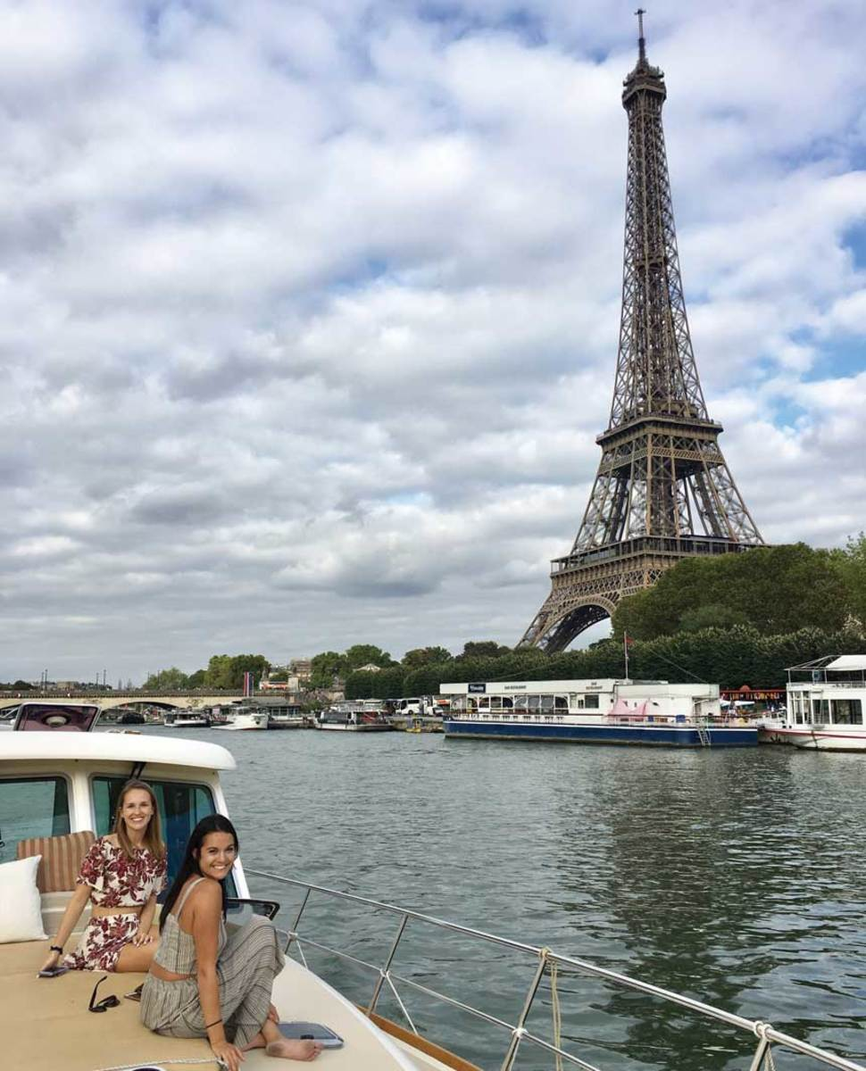 The Sabre cruises the Seine River in Paris, France.