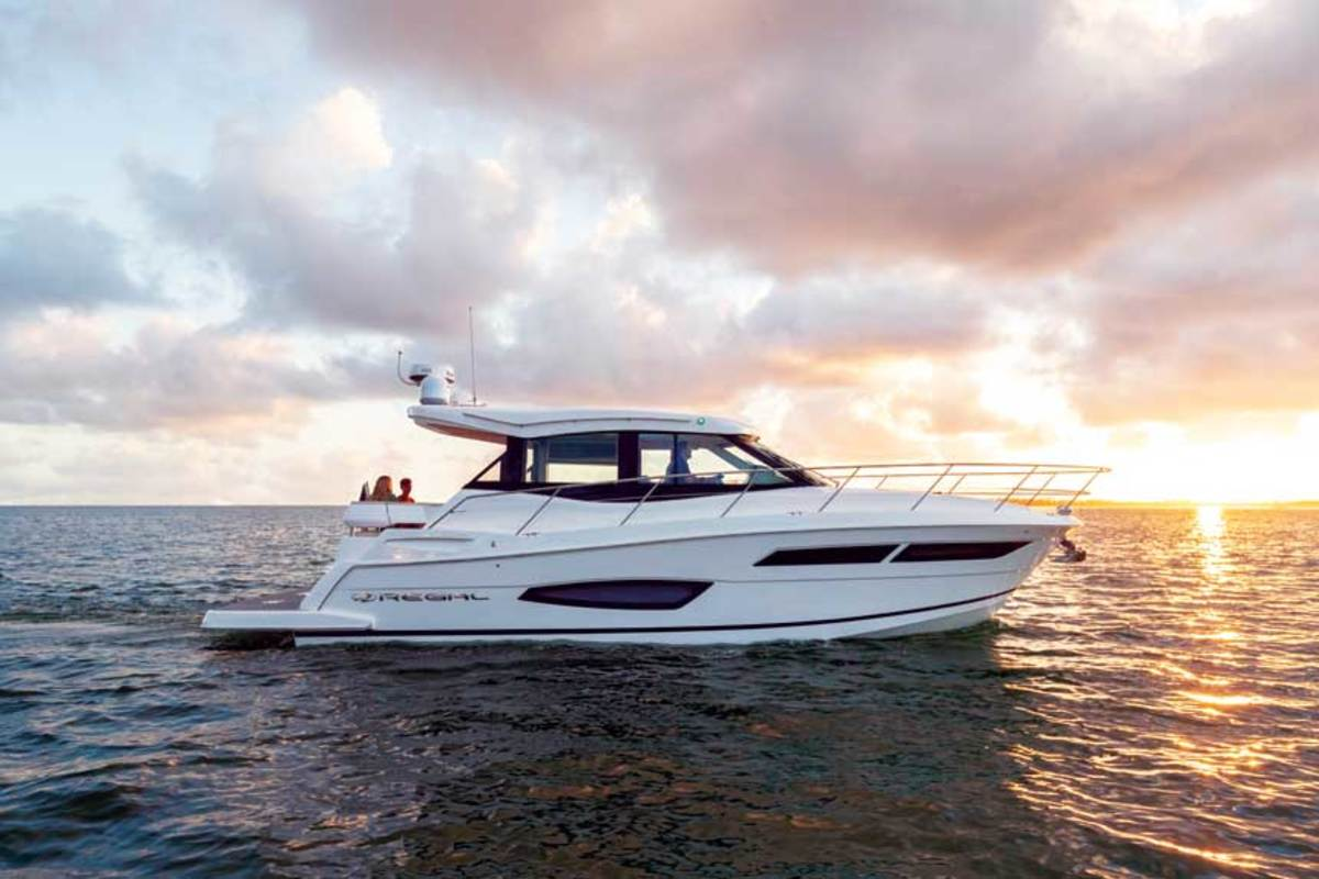 "LOA: 38'9"" / Beam: 11'11"" / Displ.: 18,000 lbs. / Fuel: 260 gals. / Water: 55 gals. / Power: (2) 380-hp Volvo gas I/Os / Price (approx.): $555,850"