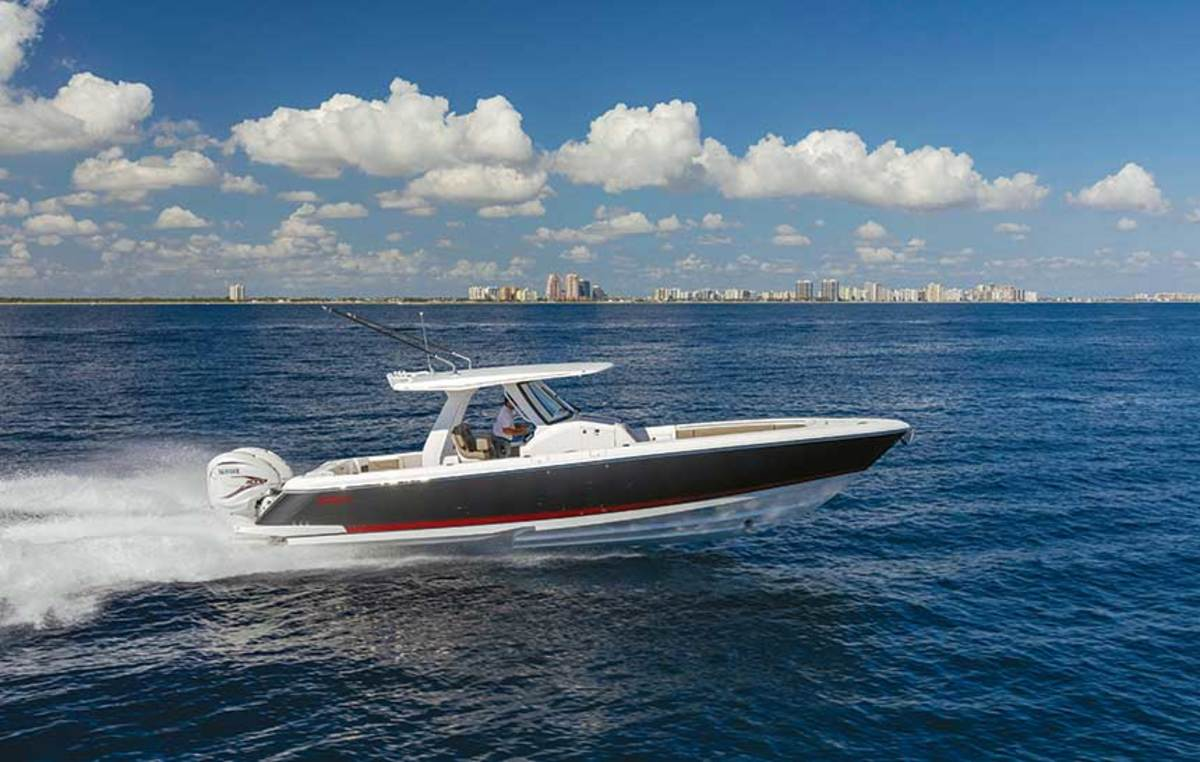 """LOA: 34'6"""" / Beam: 10'6"""" / Fuel: 350 gals. / Water: 30 gals. / Displ.: 15,000 lbs. / Power: 2 or 3 outboards up to 1,200 hp max"""