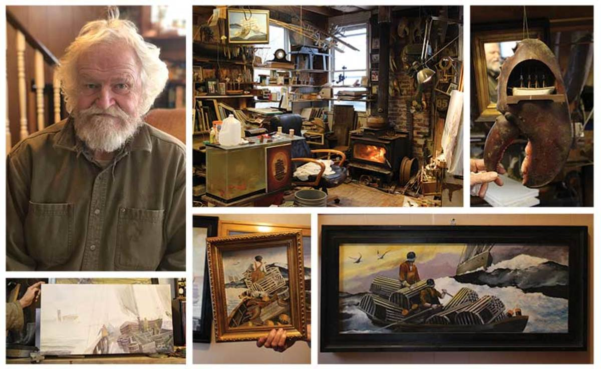 The artist, a retired fisherman, works from his home in Newport, Rhode Island.