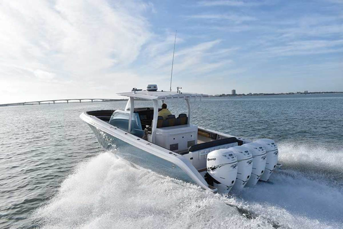 "LOA: 43' / Beam: 12'3"" / Weight: 15,800 lbs. / Power: (4) 350-hp  Mercury Verados / Price: $692,400"