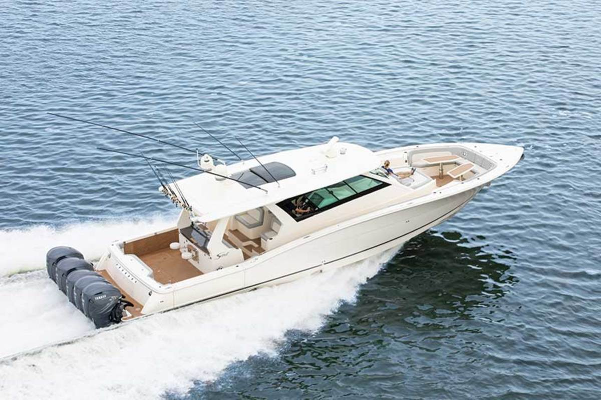 "LOA: 53' / Beam: 14'8"" / Weight: 26,500 lbs. / Power: (5) 425-hp Yamaha XF425 4-strokes / Price: $2.4 million"