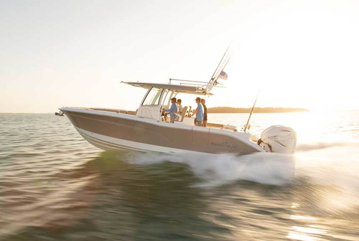 "LOA: 32' / Beam: 10'6"" / Weight: 8,500 lbs. / Power: (2) 300-hp Yamaha F300 4-strokes / Price: $212,774"