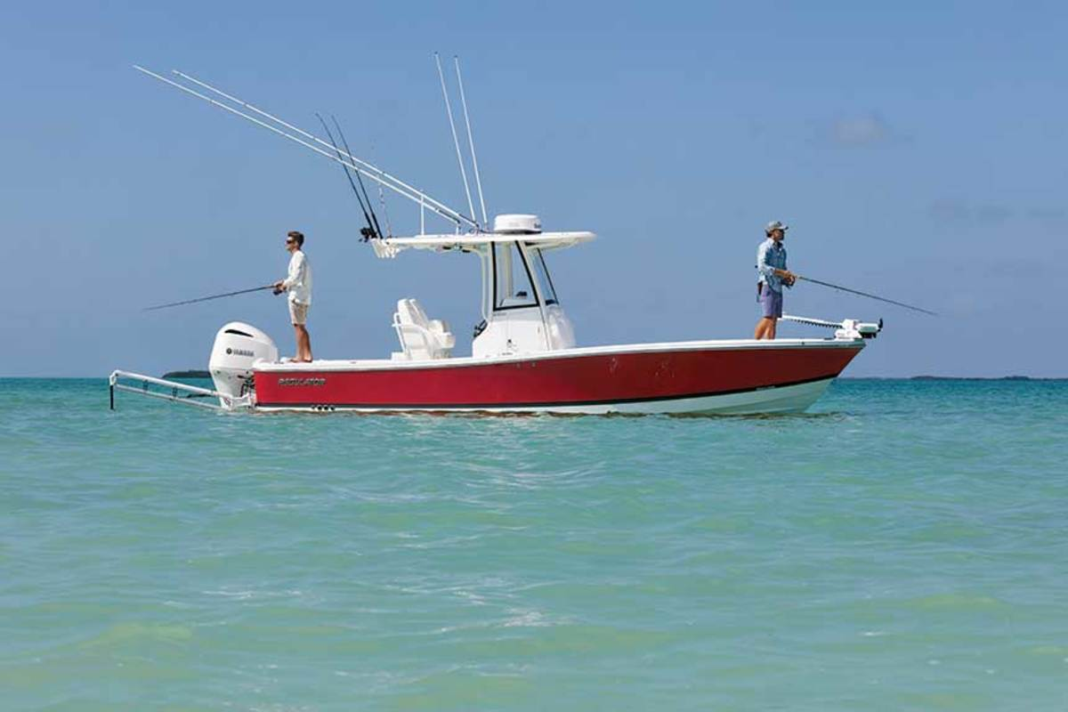 "LOA: 26'9"" / Beam: 9'3"" / Weight: 5,900 lbs. / Power: (1) 300-hp Yamaha F300 4-stroke / Price: $134,995"