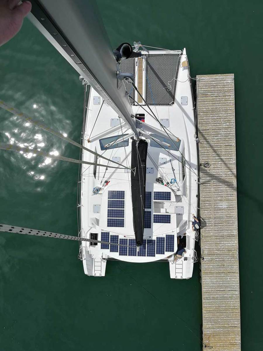 "Electrified's solar panels charge the batteries. LOA: 49' 5"" / Beam: 25'2"" / Draft: 3' 6"" / Displ.: 22,990 lbs. / Power: (2) Oceanvolt Servoprop 15 saildrives / Fuel: 106 gals. / Water: 100 gals. / Berths: 10 / Base price: $572,000"