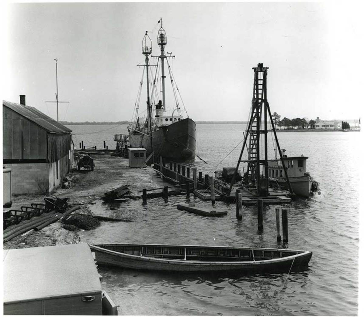 The tug lies at the museum's bulkhead in this photo taken in 1971.