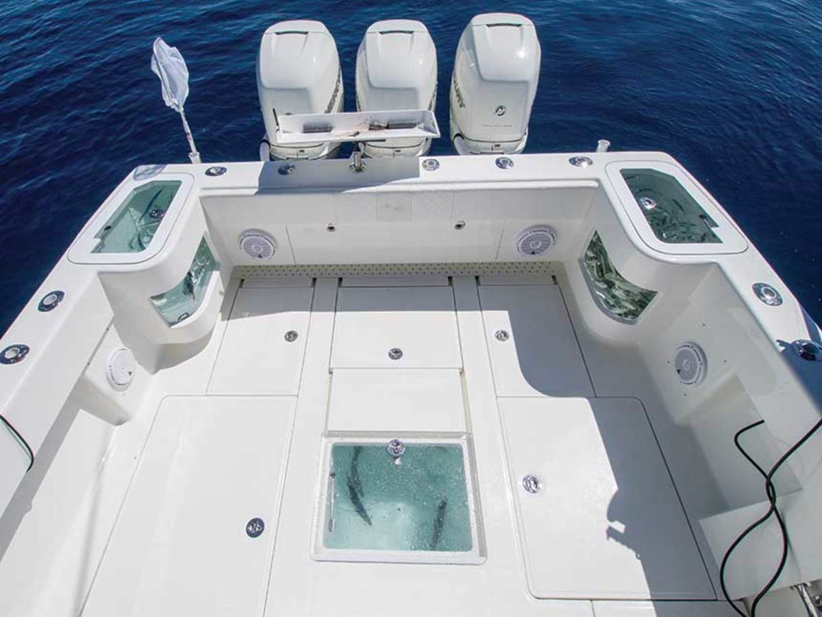 The SeaVee's cockpit has two 40-gallon livewells in the transom.