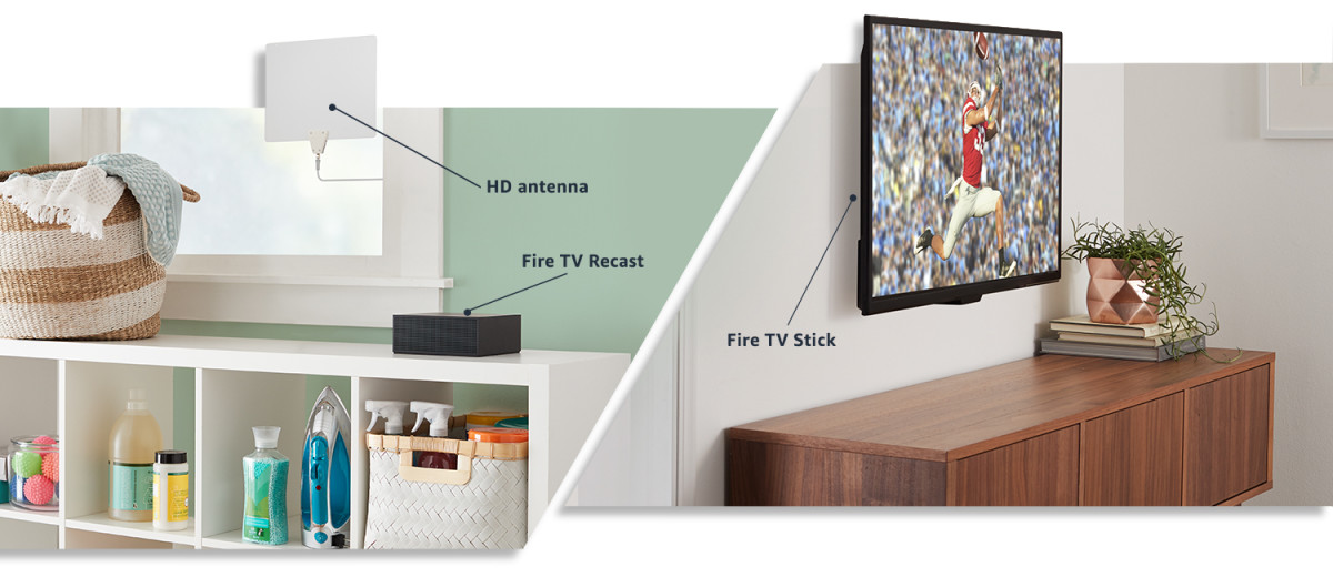 An example of how the Fire TV Recast works with a Fire TV and your TV.