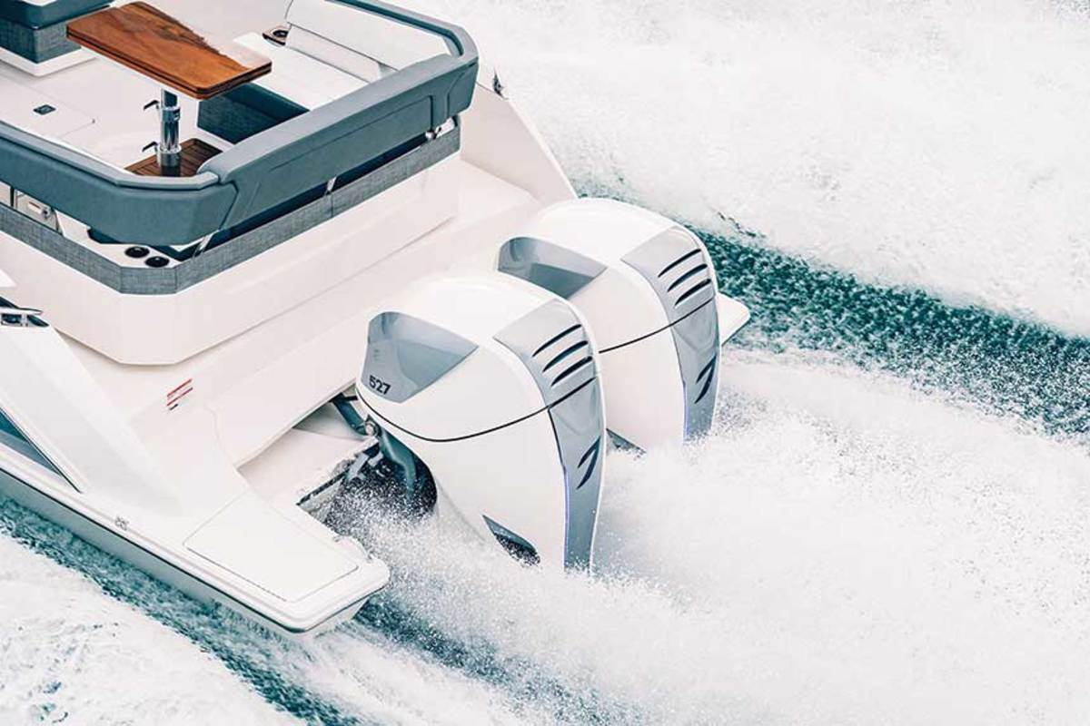 The Tiara Sport 38 LS is rigged with a pair of new Seven Marine 527 outboards fitted with a Volvo Penta  DuoProp gearcase.