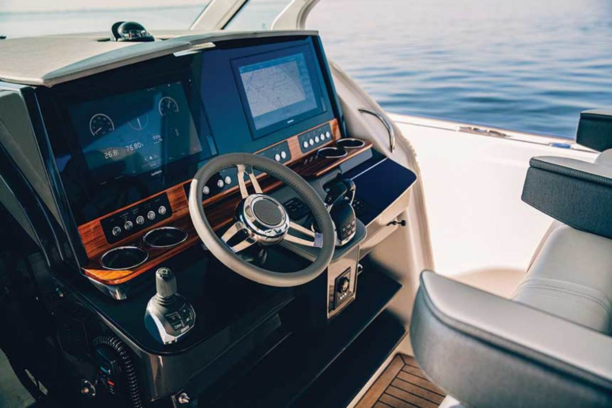 The Seven Marine package on the Tiara includes a suite of Volvo Penta Electronic Vessel Control features at the helm, such as joystick and glass cockpit.