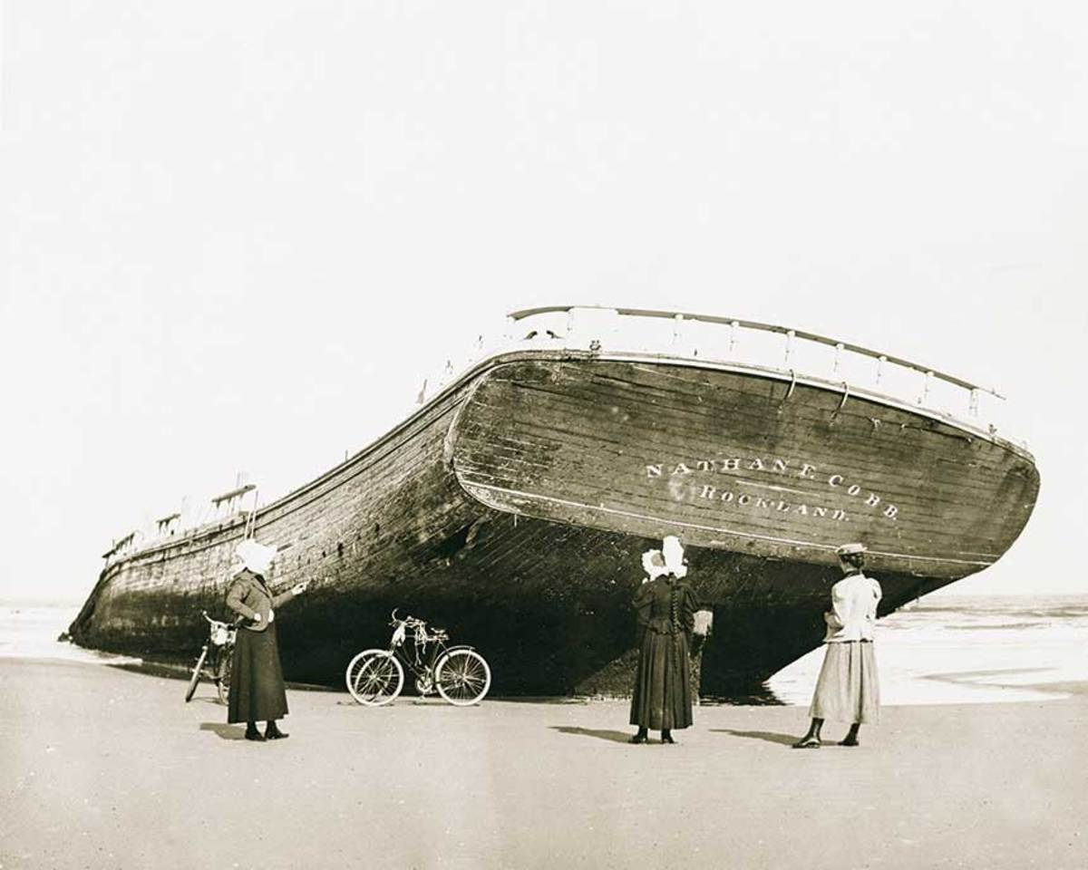 Ida Cree of Maine captured this image of a schooner that had washed ashore in Florida after a gale.