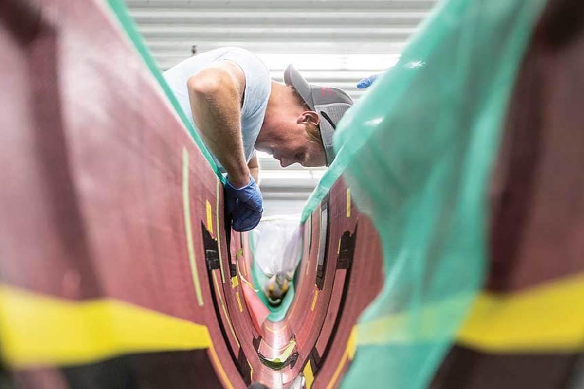 James Allsopp  is one of nine IYRS graduates to work on the American Magic build team.