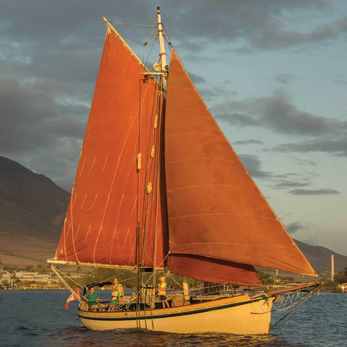 Vixen sails off Maui, fully loaded with all provisions for a month at sea.