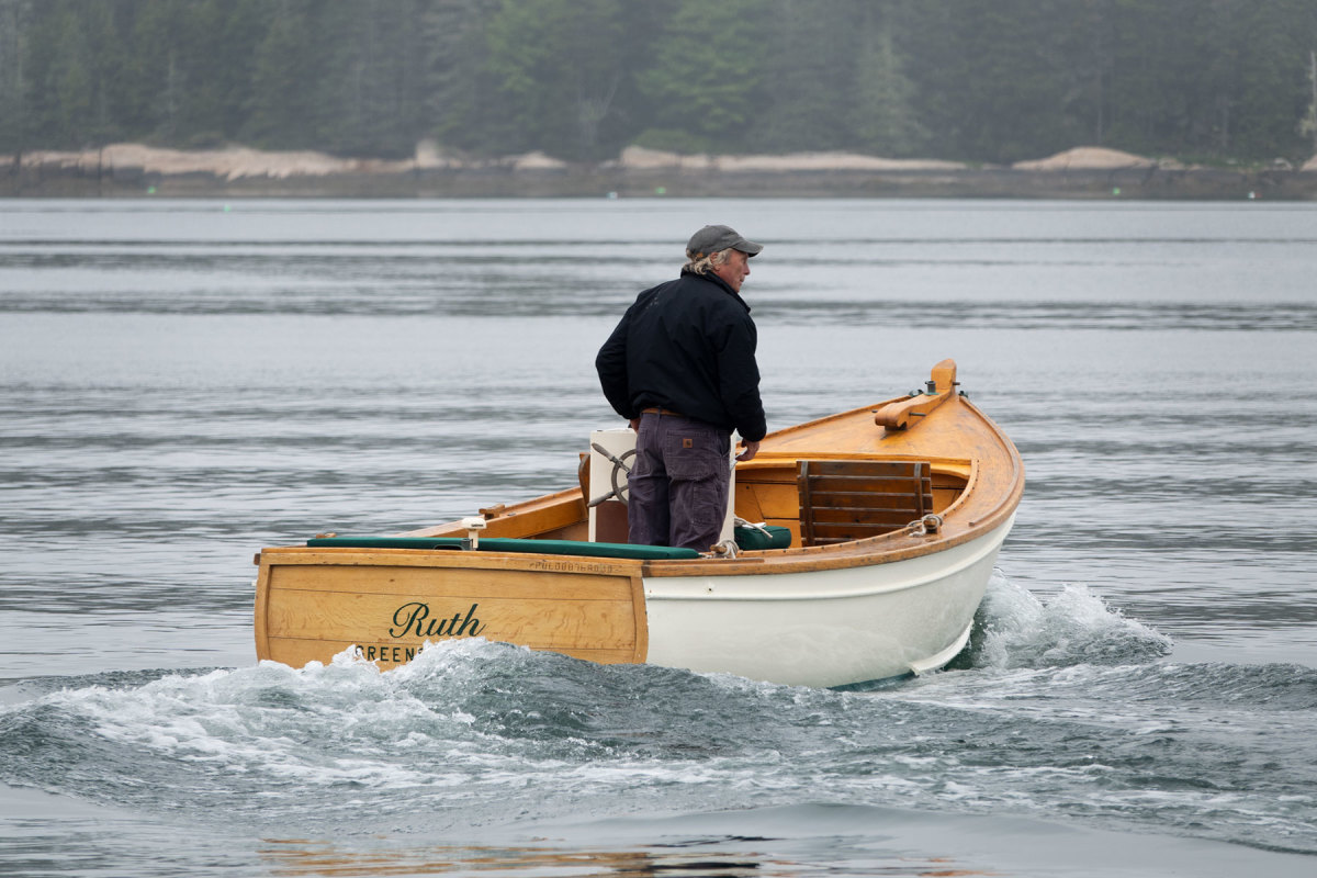 A small inboard diesel powers the Pulsifer Hampton
