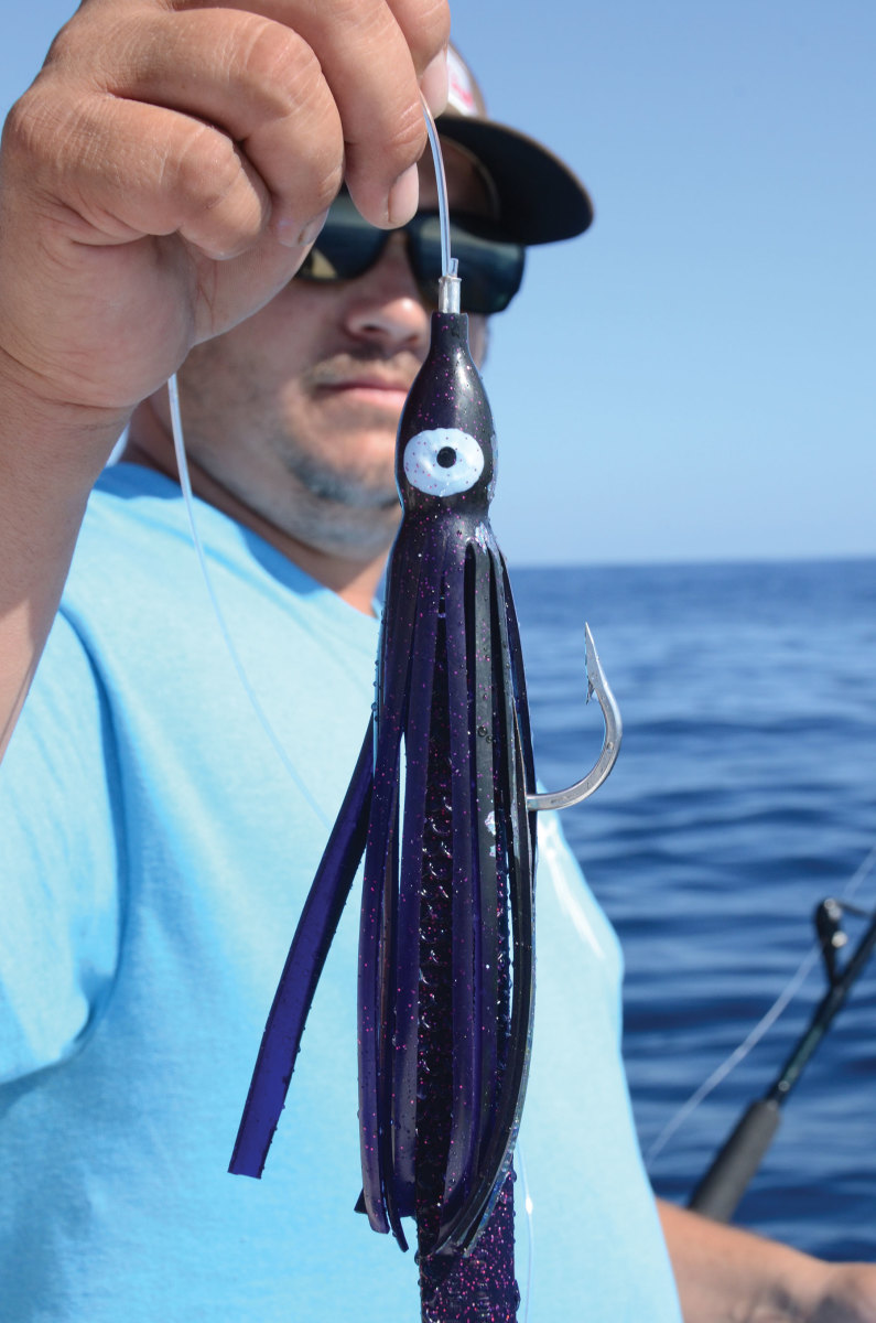 Artificial soft plastic lures should be in the arsenal of anglers hunting swordfish by day