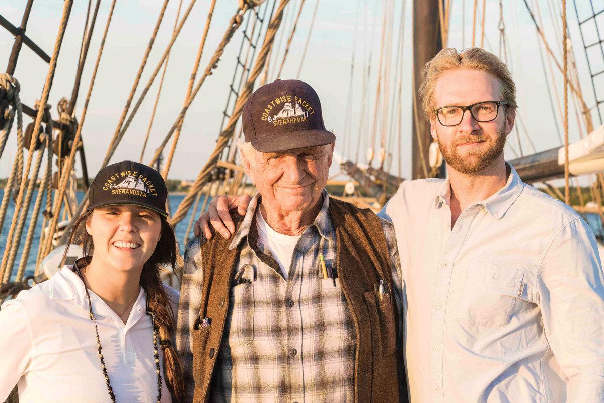 Capt. Bob Douglas (center) is turning his beloved schooner over to two of his protégés, Capt. Casey Blum (left) and Capt. Ian Ridgeway (right).