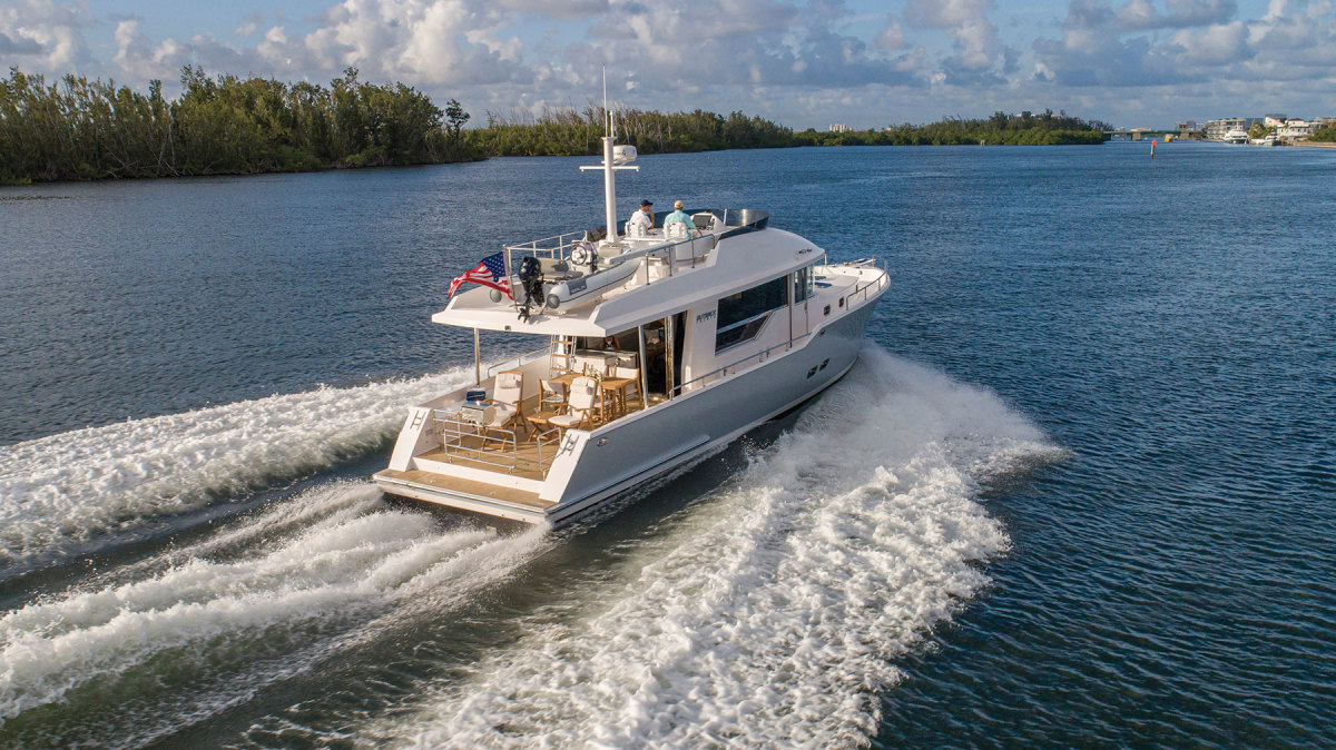 The Outback 50, a new boat in the fast trawler segment, cruises between 18 and 20 knots, with a top end of 24 knots.