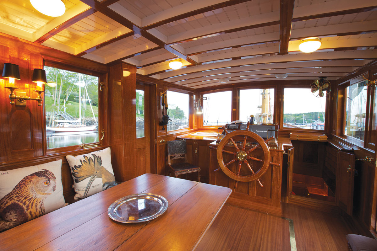 America's Wood Company supplied Rockport Marine with the wood for Zephyr, a John Alden-designed motor tender, and for Trade Wind's interior.