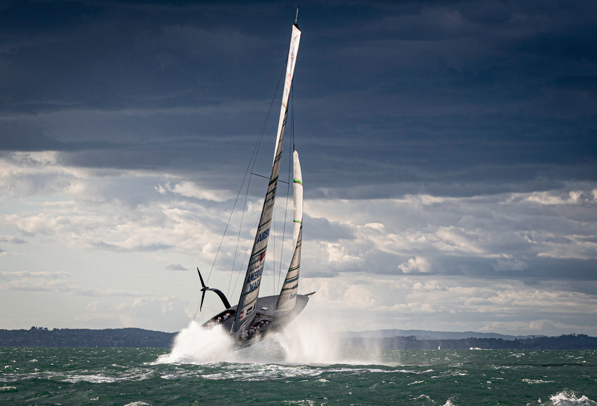 During its first ride in New Zealand, American Magic's new AC75, Patriot, went up in the air before taking a nosedive. The crew was nonplussed.