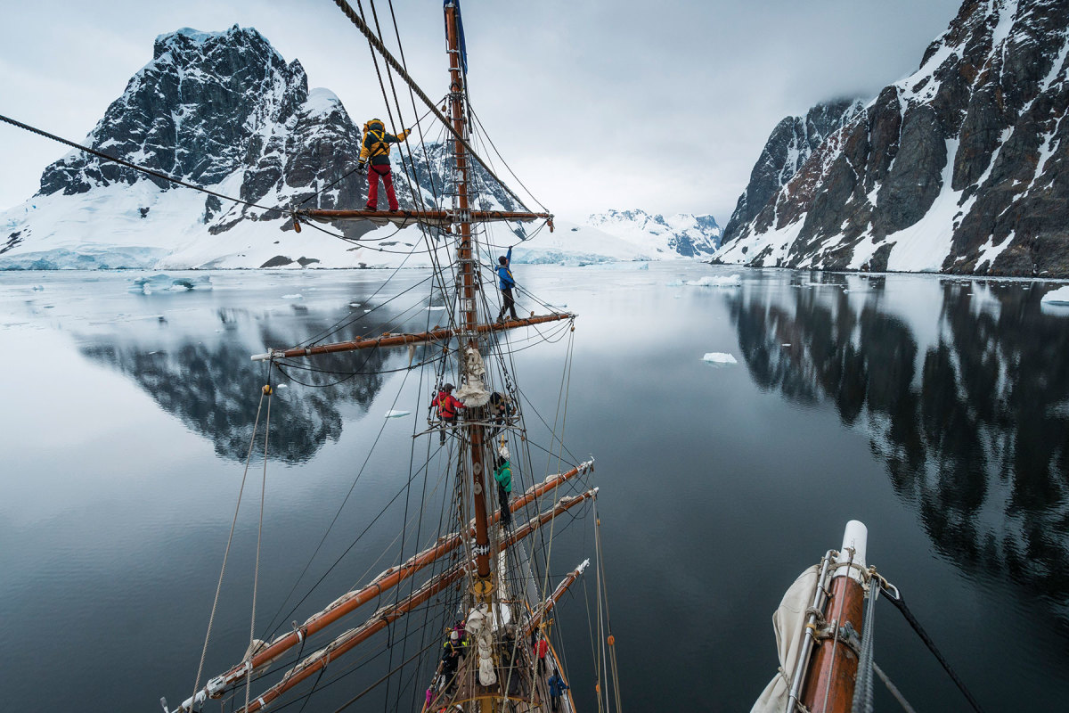 Europa passing through the Lemaire Channel in Antarctica. Covid-19 has kept the barque in the Netherlands since June 17, 2020.