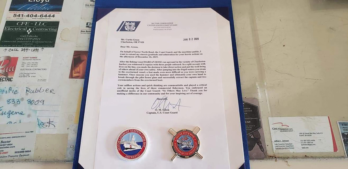 The official notification from the USCG that Green was the recipient of the Distinguished Public Service Medal