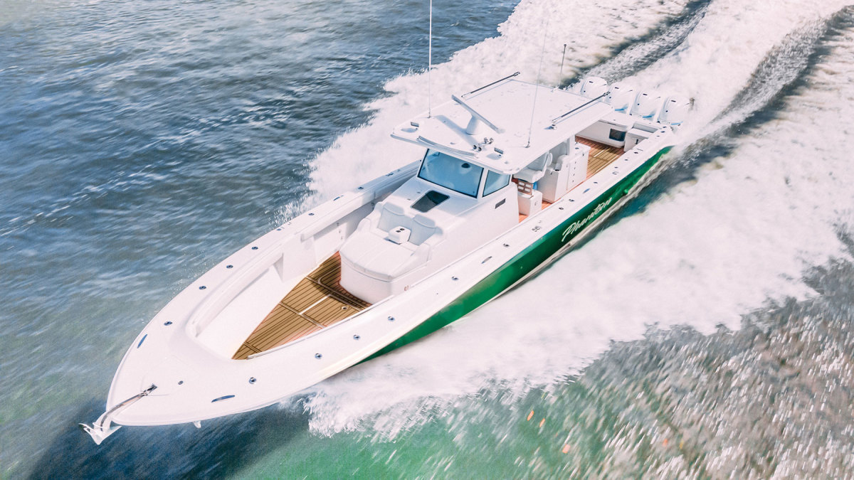 Cantor's new  53 Sueños has all the features he wants, including four 425-hp Yamaha outboards.