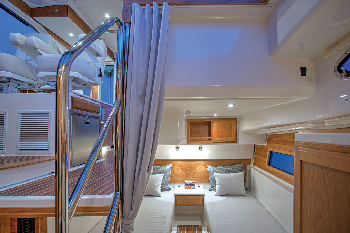 The midship stateroom with its twin bunks is an inviting place to sleep or chill out.